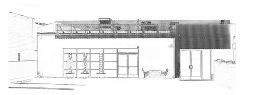 Line drawing of M-Rad studio entrance