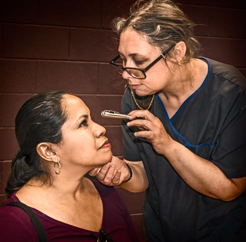 Dr. Eisenberger (Melanie Hernandez) determines Angel Taylor (Magally Ocampo) is a candidate for a surgery to restore her sight.