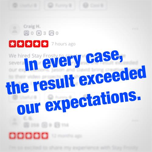 Excited to share our latest 5-star Yelp review from a new client! Our goal is to always exceed expectations and deliver 5-star videos to every client. Thank you to everyone who has written a fantastic review for us. As a small business, we know real testimonials and word-of-mouth will fuel our growth. Check out our Yelp page to read all of our reviews.