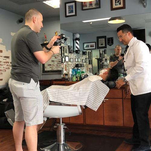 David Behind The Scenes at Master Barbers