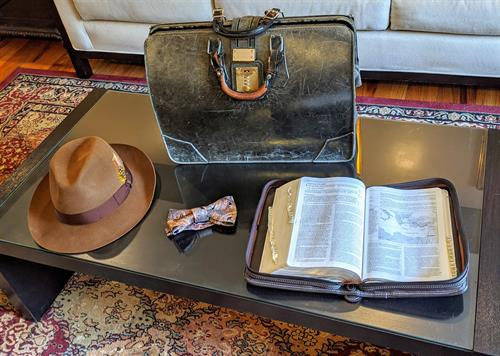 The Tools Of The Trade And Start Of The Day. Bible is First.