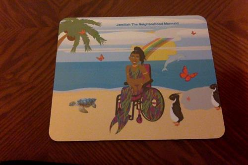 Wheelchair Mermaid Mouse Pad