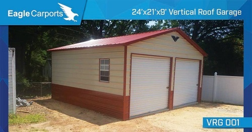 Vertical Roof 24x21x9 Garage, Call now for pricing!