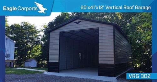 Vertical Roof 20x41x12 Garage, Call now for pricing!