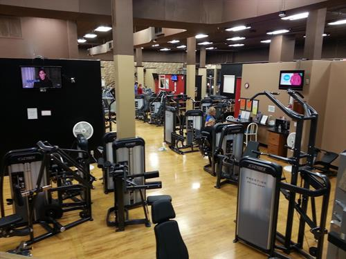 19 Stations of Cybex Eagle Machines, some doing muliple exercises