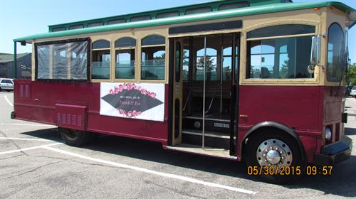 Trolley with a custom banner
