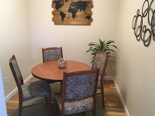 A private conference room is available for small meetings or private phone calls