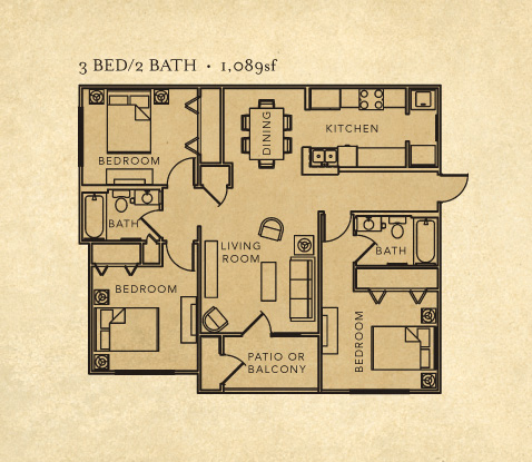 3 bedroom 2 bath layout
