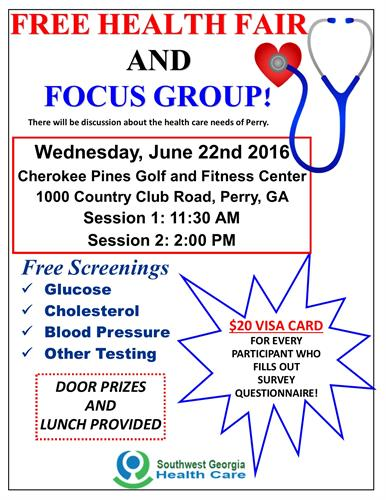 FREE Health Fair and Focus Group on June 22nd!