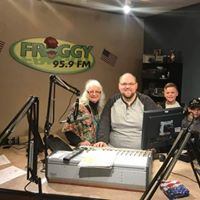 Mary Lee atFFroggy 95.9 with grandson Zeb and Wyatt