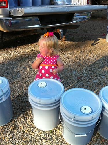 Soap Lady's Granddaughter Checking on the buckets of Laundry Detergent