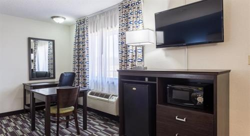 Each room has a spacious mini-fridge, microwave and 42in flat screen TV!
