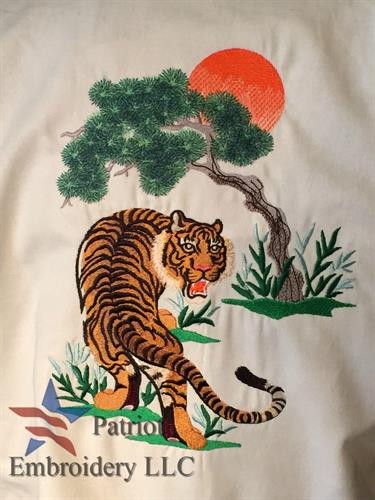 This tiger looks great on the back of a Karate Ghi!