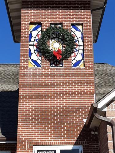 Custom Faux Stained Glass - Vinyl on Acrylic - First Steps Church of God - Farmington, MO
