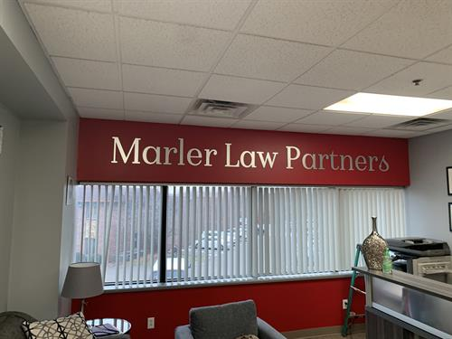 Brushed Aluminum Lettering - Marler Law Offices - St. Louis, MO