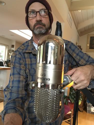 Greg Edenfield with his newly modified microphone
