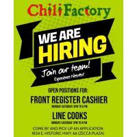 We Are Hiring Front Register Cashier & Line Cooks