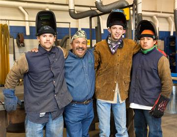 Welding instructor Joe Sanchez, 2nd from left,  was named 2015 Instructor of the Year by the NM Chapter of the American Welding Society
