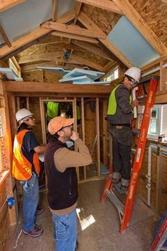 "Construction Technology students work on a ""tiny house"" project"