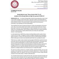 Navajo Nation Issues ''Stay at Home Order''