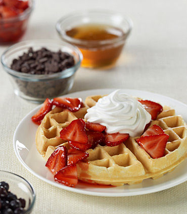 Fresh Waffles and Toppings.