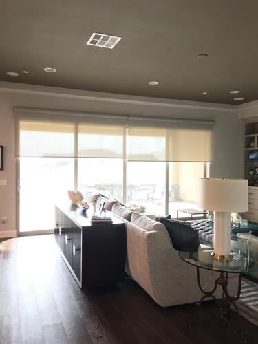 Hunter Douglas, Designer Screen Roller Shade With PowerView lift.