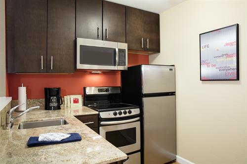 Fully equipped kitchen at TownePlace Suites