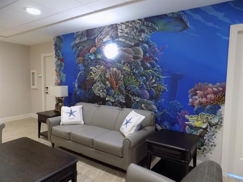 This beautiful mural is a lovely focal point for our residents in Memory Care.