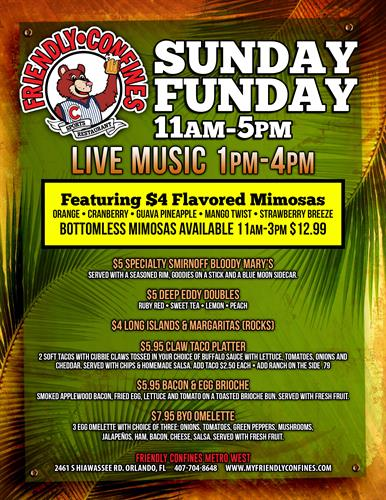 Sunday Funday featuring Bottomless Mimosas & Live Music