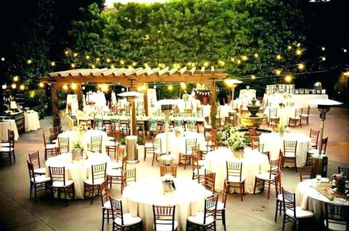 Market Lighting, Tables, Chairs, Drape, Wedding Setup