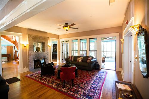 Living room with working fire place