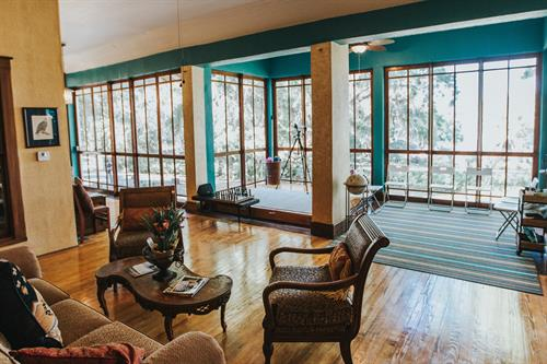Enclosed glass porch overlooking Lake Apopka. Enjoy our birdwatching equipment or sign up for one of our varying workshops.