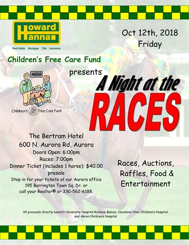 A Night At The Races Oct 12, 2018. Call for tickets 330-562-6188