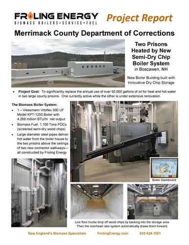Froling Energy constructs boiler building and biomass system at Merrimack County Prison