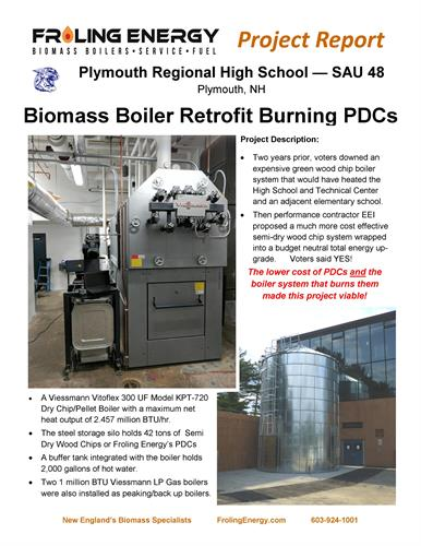 Plymouth Regional High School heats with Froling installed biomass boiler and PDC fuel
