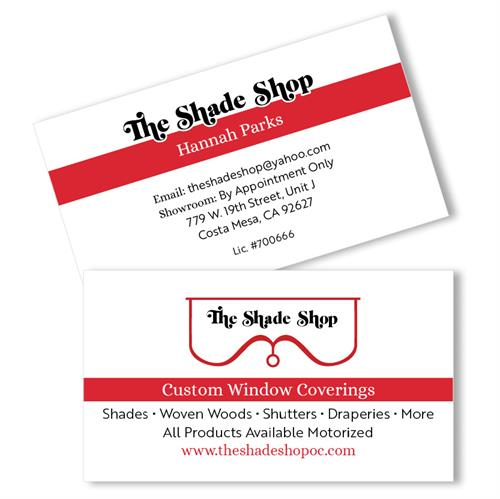 The Shade Shop in Costa Mesa business card and brand adjust