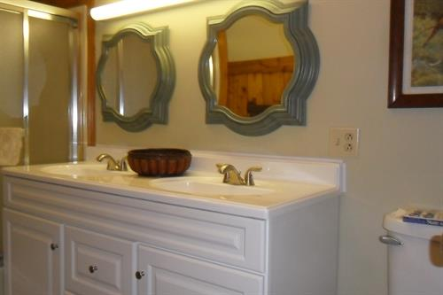 After Guest Bathroom New Dbl. vanity, flooring & painted walls, dbl. mirrors.
