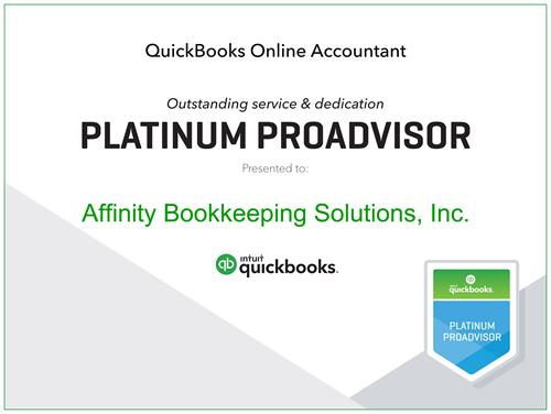 AFfinity Bookkeeping Solutions, Inc. awarded Platinum ProAdvisor status by Intuit QuickBooks
