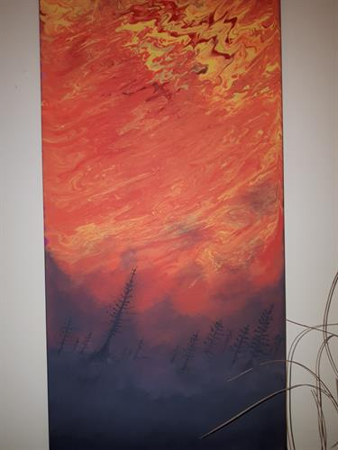 """12x24 Acrylic on Stretched canvas. 1"""" Wooden Frame. Ready to hang"""