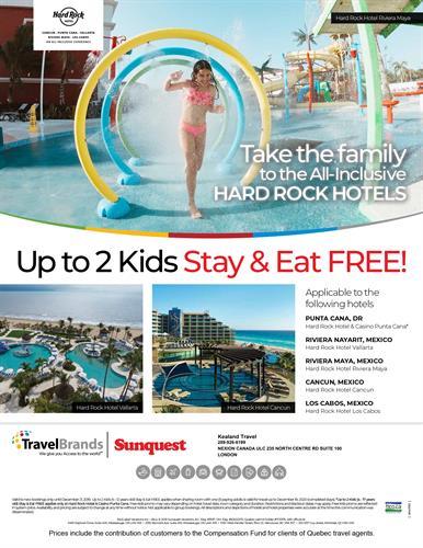 HARD ROCK HOTEL & Resorts. Kids Stay Free!!  **offer expires December 21, 2019