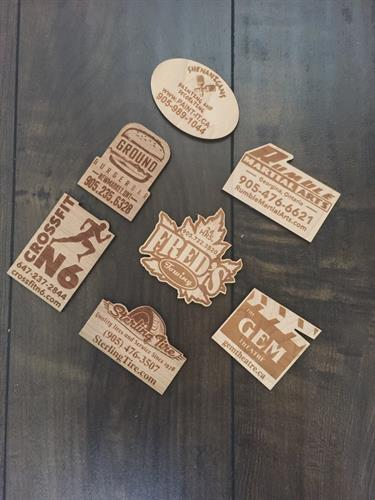 Laser Engraved Wood Magnets - a perfect take away for clients to remember your brand!