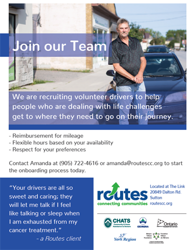 We are always looking for dedicated individuals to join our Team of Volunteer Drivers!