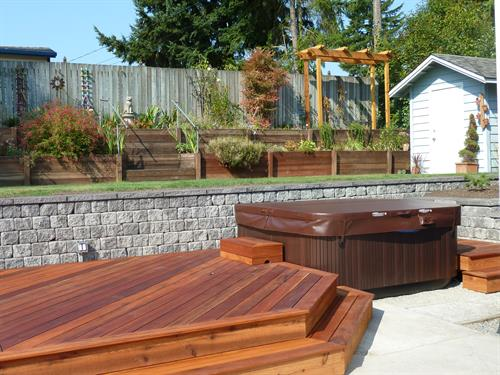 Shoreline Deck, Hot Tub, and Retaining Wall