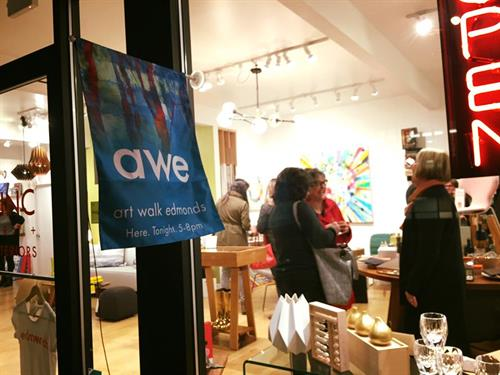 Local businesses in the downtown Edmonds core host artists for visitors to meet.