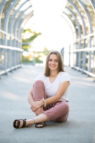 high school senior photo of girl on bridge at Picnic Point in Edmonds