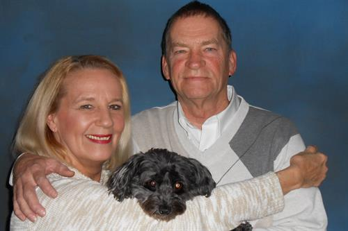 Boyd and Cathi Manning with their puppy, Marley! We are pet friendly!