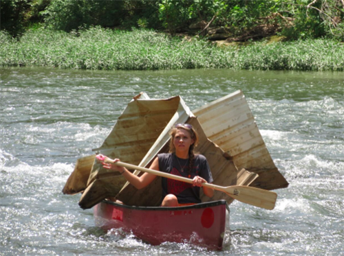 Full canoe after at a river clean-up