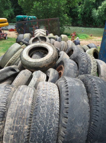 Tire haul after a river clean-up