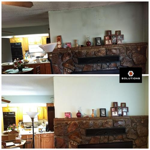Smoke and fire restoration and damage repair from fireplace fire.