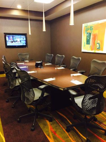 One of our two boardrooms that can accommodate up to 10 guests for a private meeting.